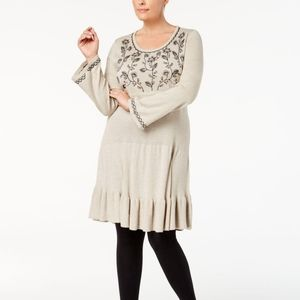 Style & Co. Embroidered Ruffled Sweater Dress